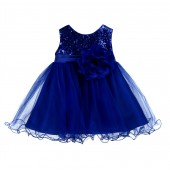 Navy Blue Glitter Sequin Tulle Flower Girl Dress Formal Princess B-011NF