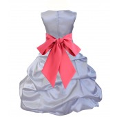 Silver/Watermelon Satin Pick-Up Bubble Flower Girl Dress Stylish 806S