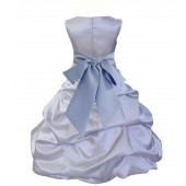 Silver/Bluebird Satin Pick-Up Bubble Flower Girl Dress Stylish 806S