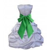 Silver/Lime Satin Pick-Up Bubble Flower Girl Dress Stylish 806S