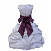 Silver/Plum Satin Pick-Up Bubble Flower Girl Dress Stylish 806S