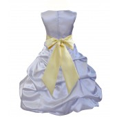 Silver/Canary Satin Pick-Up Bubble Flower Girl Dress Stylish 806S