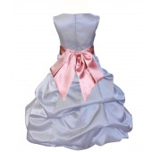 Silver/Dusty Rose Satin Pick-Up Bubble Flower Girl Dress Stylish 806S