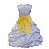 Silver/Sunbeam Satin Pick-Up Bubble Flower Girl Dress Stylish 806S