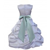 Silver/Sage Satin Pick-Up Bubble Flower Girl Dress Stylish 806S
