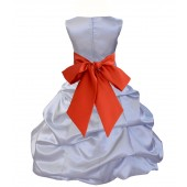 Silver/Persimmon Satin Pick-Up Bubble Flower Girl Dress Stylish 806S