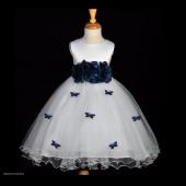 Peacock Butterflies Tulle Flower Girl Dress 3-Flower Sash 509A