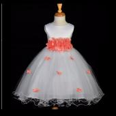Coral Butterflies Tulle Flower Girl Dress 3-Flower Sash 509A