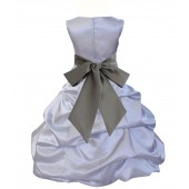 Silver/Mercury Satin Pick-Up Bubble Flower Girl Dress Stylish 806S