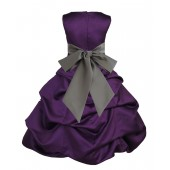 Purple/Mercury Satin Pick-Up Bubble Flower Girl Dress Easter 806S