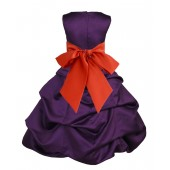 Purple/Persimmon Satin Pick-Up Bubble Flower Girl Dress Easter 806S