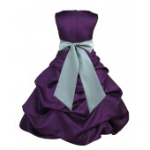 Purple/Sage Satin Pick-Up Bubble Flower Girl Dress Easter 806S