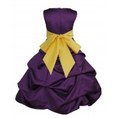 Purple/Sunbeam Satin Pick-Up Bubble Flower Girl Dress Easter 806S