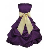 Purple/Canary Satin Pick-Up Bubble Flower Girl Dress Easter 806S