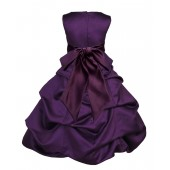 Purple/Plum Satin Pick-Up Bubble Flower Girl Dress Easter 806S