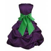 Purple/Lime Satin Pick-Up Bubble Flower Girl Dress Easter 806S