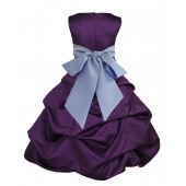 Purple/Bluebird Satin Pick-Up Bubble Flower Girl Dress Easter 806S