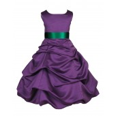 Purple/Green Satin Pick-Up Bubble Flower Girl Dress Easter 806S
