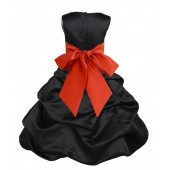 Black/Persimmon Satin Pick-Up Bubble Flower Girl Dress Formal 806S