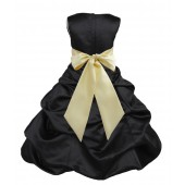 Black/Canary Satin Pick-Up Bubble Flower Girl Dress Formal 806S