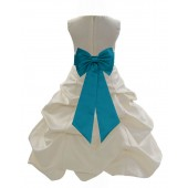 Ivory/Oasis Satin Pick-Up Bubble Flower Girl Dress Bridesmaid 808T