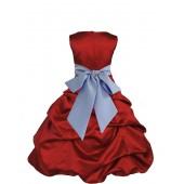 Apple Red/Bluebird Satin Pick-Up Bubble Flower Girl Dress 806S