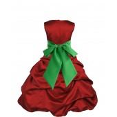 Apple Red/Lime Satin Pick-Up Bubble Flower Girl Dress 806S