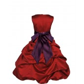 Apple Red/Plum Satin Pick-Up Bubble Flower Girl Dress 806S