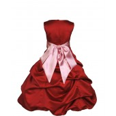 Apple Red/Dusty Rose Satin Pick-Up Bubble Flower Girl Dress 806S