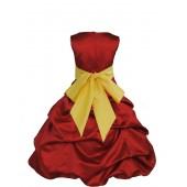 Apple Red/Sunbeam Satin Pick-Up Bubble Flower Girl Dress 806S