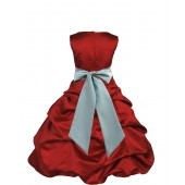 Apple Red/Sage Satin Pick-Up Bubble Flower Girl Dress 806S