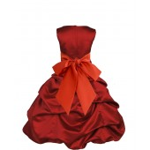 Apple Red/Persimmon Satin Pick-Up Bubble Flower Girl Dress 806S