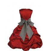 Apple Red/Mercury Satin Pick-Up Bubble Flower Girl Dress 806S
