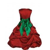 Apple Red/Green Satin Pick-Up Bubble Flower Girl Dress 806S