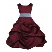 Burgundy/Lime Satin Pick-Up Bubble Flower Girl Dress Event 806S