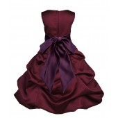 Burgundy/Plum Satin Pick-Up Bubble Flower Girl Dress Event 806S