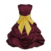 Burgundy/Sunbeam Satin Pick-Up Bubble Flower Girl Dress Event 806S