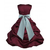 Burgundy/Sage Satin Pick-Up Bubble Flower Girl Dress Event 806S