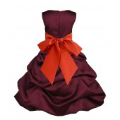 Burgundy/Persimmon Satin Pick-Up Bubble Flower Girl Dress Event 806S