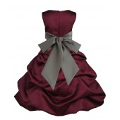 Burgundy/Mercury Satin Pick-Up Bubble Flower Girl Dress Event 806S