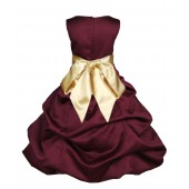 Burgundy/Gold Satin Pick-Up Bubble Flower Girl Dress Event 806S
