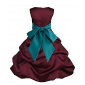 Burgundy/Oasis Satin Pick-Up Bubble Flower Girl Dress Event 806S