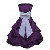 Purple/White Satin Pick-Up Bubble Flower Girl Dress Easter 808T