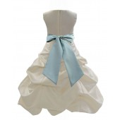 Ivory/Sage Satin Pick-Up Bubble Flower Girl Dress Bridesmaid 806S