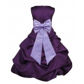 Purple/Lilac Satin Pick-Up Bubble Flower Girl Dress Easter 808T