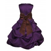 Purple/Brown Satin Pick-Up Bubble Flower Girl Dress Easter 808T