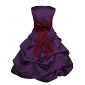 Purple/Burgundy Satin Pick-Up Bubble Flower Girl Dress Easter 808T