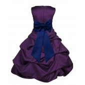 Purple/Navy Blue Satin Pick-Up Bubble Flower Girl Dress Easter 808T