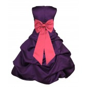 Purple/Watermelon Satin Pick-Up Bubble Flower Girl Dress Easter 808T