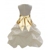 Ivory/Gold Satin Pick-Up Bubble Flower Girl Dress Bridesmaid 806S